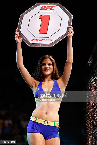 Octagon Girl Aline Caroline Franzoi introduces a round during the UFC on FX event on January 19 2013 at Ibirapuera Gymnasium in Sao Paulo Brazil