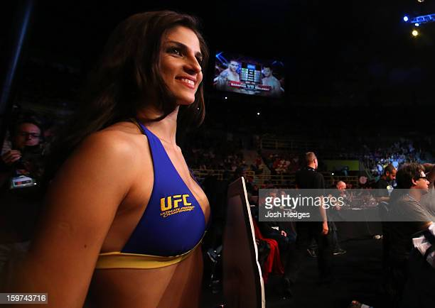 Octagon Girl Aline Caroline Franzoi looks on during the UFC on FX event on January 19 2013 at Ibirapuera Gymnasium in Sao Paulo Brazil