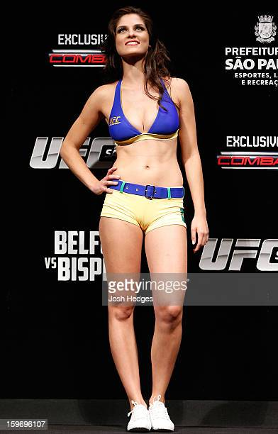 Octagon Girl Aline Caroline Franzoi stands on stage during the UFC on FX official weighin event on January 18 2013 at Ibirapuera Gymnasium in Sao...