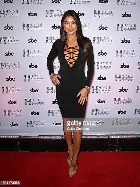 Octagon Girl and model Arianny Celeste attends a UFC 194 after party at Hyde Bellagio at the Bellagio on December 12, 2015 in Las Vegas, Nevada.