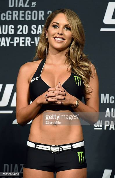 Octagon Girl and model Brittney Palmer attends the weighins for UFC 202 on August 19 2016 in Las Vegas Nevada