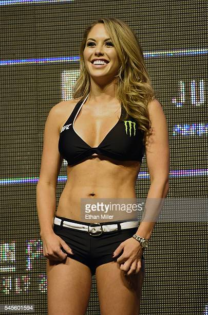 Octagon Girl and model Brittney Palmer smiles as she attends the weighins for UFC 200 at TMobile Arena on July 8 2016 in Las Vegas Nevada