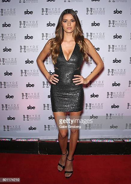 Octagon Girl and model Vanessa Hanson attends a UFC 194 after party at Hyde Bellagio at the Bellagio on December 12 2015 in Las Vegas Nevada