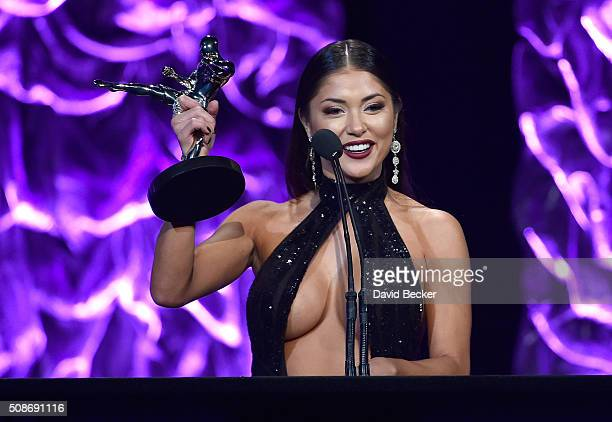 Octagon Girl Arianny Celeste accepts the Ring Card Girl award the eighth annual Fighters Only World Mixed Martial Arts Awards at The Venetian Las...