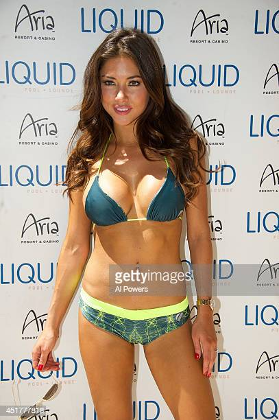 Octagon Girl Arianny Celeste arrives at the UFC pool party during UFC International Fight Week at the Liquid Pool Lounge at the Aria Resort Casino at...