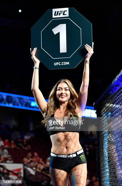Octagon Girl Arianny Celeste introduces a round during the UFC Fight Night event at Scotiabank Saddledome on July 28 2018 in Calgary Alberta Canada