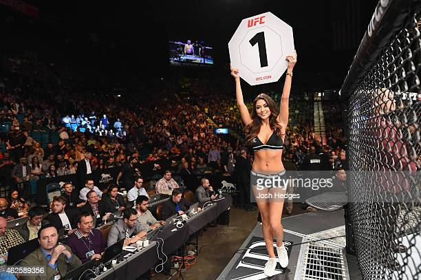 Octagon Girl Arianny Celeste introduces round done of Mein vs Alves before their welterweight bout during the UFC 183 event at the MGM Grand Garden...