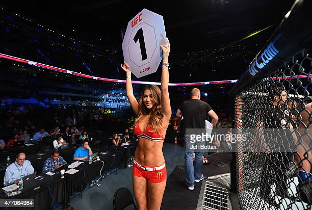 Octagon Girl Arianny Celeste introduces the round during the UFC 188 event at the Arena Ciudad de Mexico on June 13 2015 in Mexico City Mexico