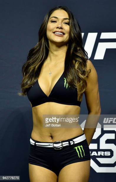 Octagon Girl Arianny Celeste stands on stage during the UFC 223 weighin inside Barclays Center on April 6 2018 in Brooklyn New York