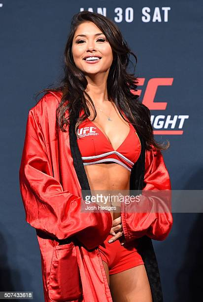 Octagon Girl Arianny Celeste stands on stage during the UFC Fight Night weighin at the Prudential Center on January 29 2016 in Newark New Jersey