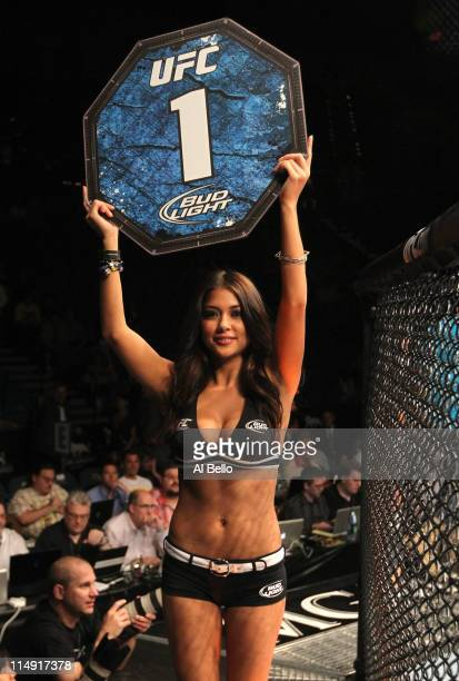 Octagon Girl Arianny Celeste walks around the cage at UFC 130 at the MGM Grand Garden Arena on May 28 2011 in Las Vegas Nevada