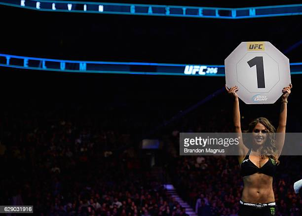 Octagon Girl Brittany Palmer introduces the second round during the UFC 206 event inside the Air Canada Centre on December 10 2016 in Toronto Ontario...