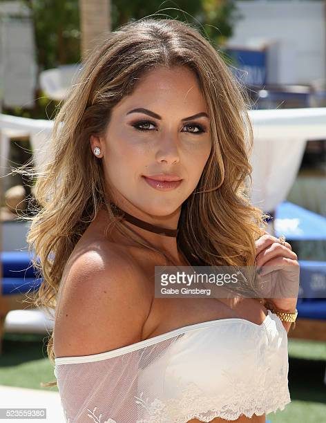 Octagon Girl Brittney Palmer attends a fight weekend pool party at Sky Beach Club at the Tropicana Las Vegas on April 23 2016 in Las Vegas Nevada