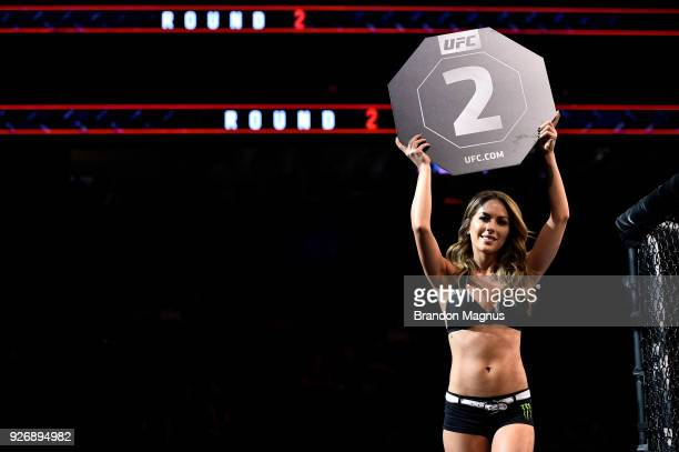 Octagon Girl Brittney Palmer introduces a round during the UFC 222 event inside TMobile Arena on March 3 2018 in Las Vegas Nevada
