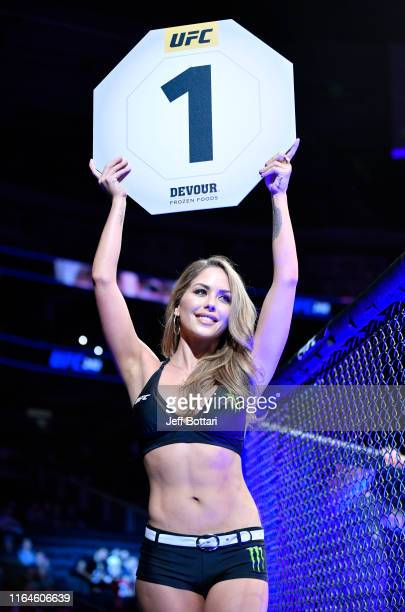 Octagon Girl Brittney Palmer introduces a round during the UFC 240 event at Rogers Place on July 27 2019 in Edmonton Alberta Canada
