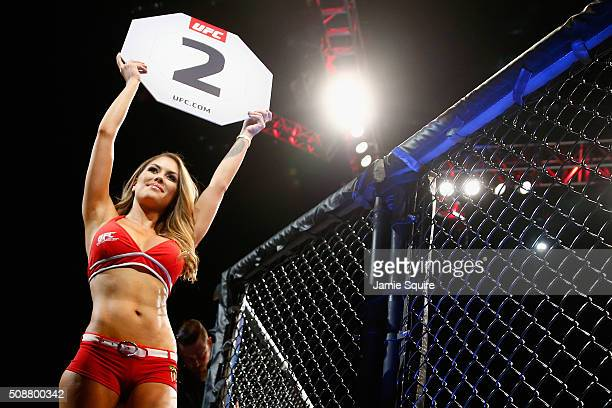 Octagon Girl Brittney Palmer introduces a round during the UFC Fight Night event at MGM Grand Garden Arena on February 6 2016 in Las Vegas Nevada