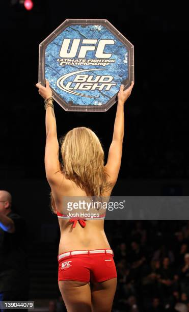 Octagon Girl Brittney Palmer introduces round one before the Dillashaw v Watson bout during the UFC on FUEL TV event at Omaha Civic Auditorium on...