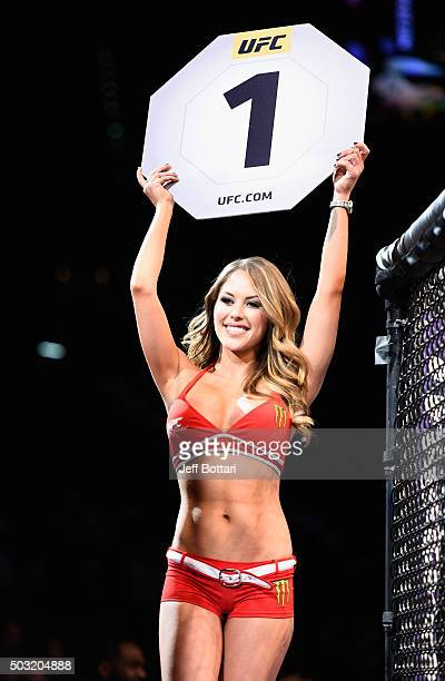 Octagon Girl Brittney Palmer introduces round one of Noke vs Morono during the UFC 195 event inside MGM Grand Garden Arena on January 2 2016 in Las...