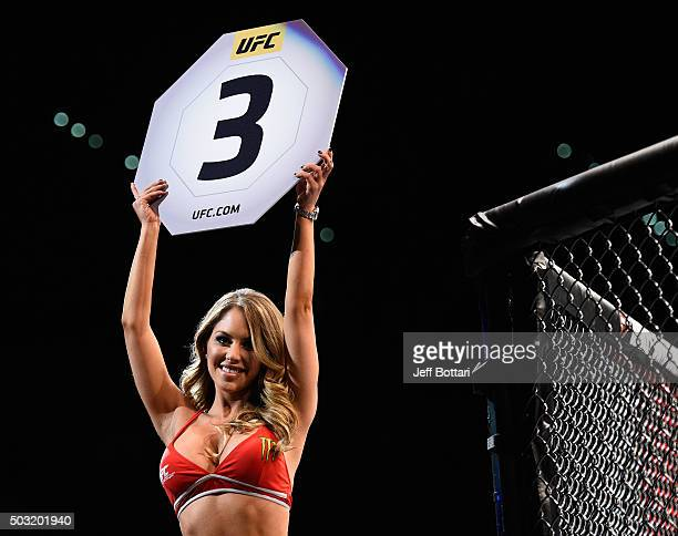 Octagon Girl Brittney Palmer introduces round three of Soto vs Tanaka during their bantamweight bout during the UFC 195 event inside MGM Grand Garden...