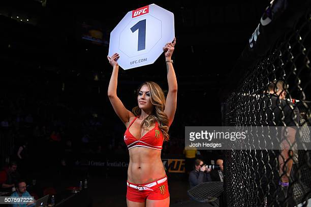 Octagon Girl Brittney Palmer introduces the first round during the UFC Fight Night event at the Prudential Center on January 30 2016 in Newark New...