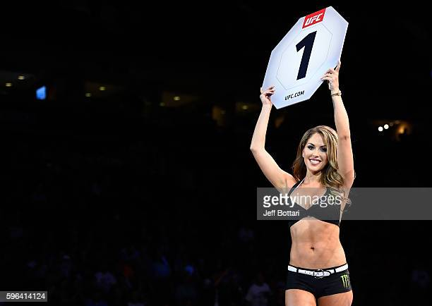 Octagon Girl Brittney Palmer introduces the first round during the UFC Fight Night event at Rogers Arena on August 27 2016 in Vancouver British...