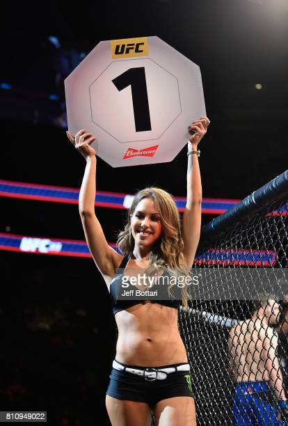Octagon Girl Brittney Palmer introduces the first round during the UFC 213 event at TMobile Arena on July 8 2017 in Las Vegas Nevada