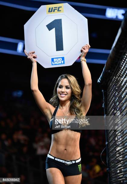 Octagon Girl Brittney Palmer introduces the first round during the UFC 215 event inside the Rogers Place on September 9 2017 in Edmonton Alberta...