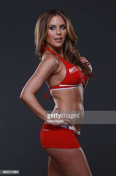 Octagon Girl Brittney Palmer poses backstage for portraits during the UFC 181 event inside the Mandalay Bay Events Center on December 6 2014 in Las...