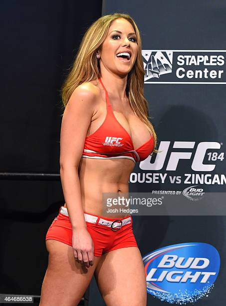 Octagon Girl Brittney Palmer stands on stage during the UFC 184 weighin at the Event Deck and LA Live on February 27 2015 in Los Angeles California
