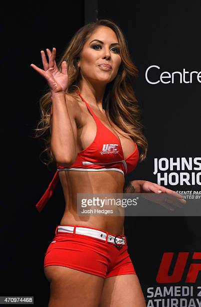 Octagon Girl Brittney Palmer stands on stage during the UFC 186 weighin at Metropolis on April 24 2015 in Montreal Quebec Canada