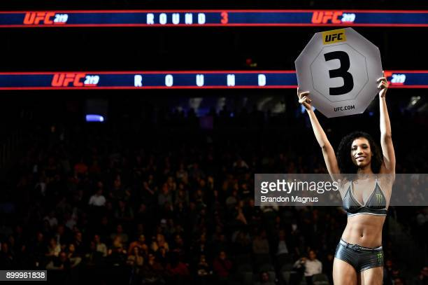 Octagon Girl Brooklyn Wren introduces a round during the UFC 219 event inside TMobile Arena on December 30 2017 in Las Vegas Nevada