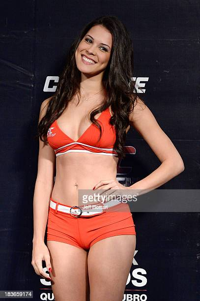 Octagon Girl Camila Rodrigues de Oliveira stands on stage during the UFC Fight Night: Maia v Shields weigh-in at the Ginasio Jose Correa on October...