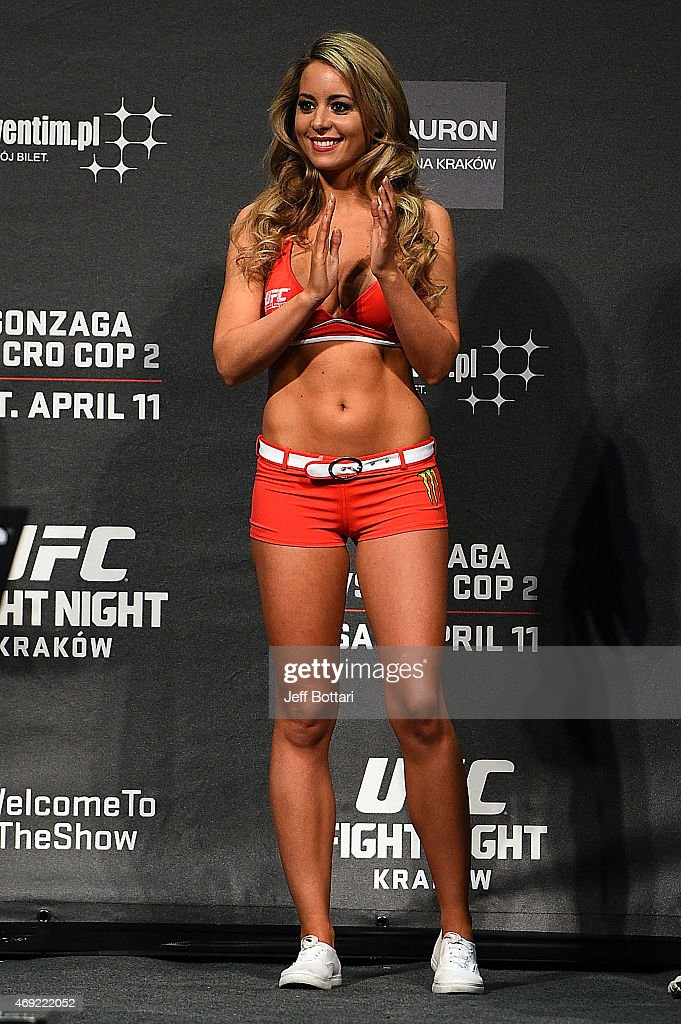Octagon Girl Carly Baker interacts with the crowd during the UFC Fight Night weigh-in at the Tauron Arena on April 10, 2015 in Krakow, Poland.