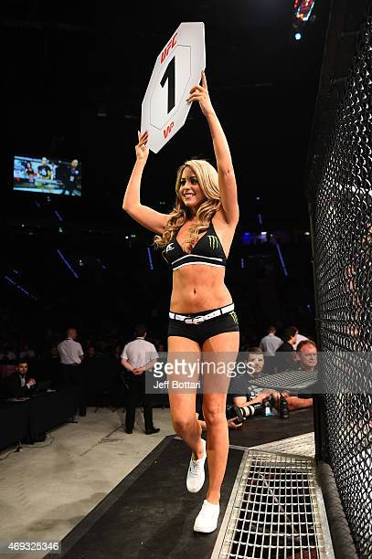 Octagon Girl Carly Baker introduces a round during the UFC Fight Night event at the Tauron Arena on April 11 2015 in Krakow Poland