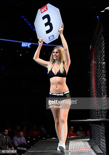 Octagon Girl Chrissy Blair introduces the third round during the UFC Fight Night event at Arena Ciudad de Mexico on November 5 2016 in Mexico City...