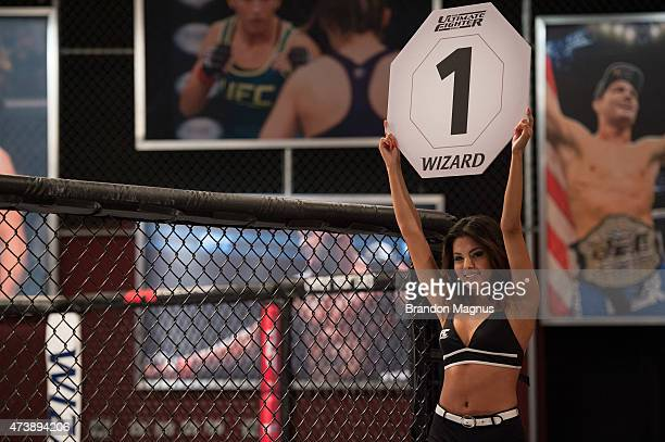 Octagon Girl Isabela Amado introduces the round during the filming of The Ultimate Fighter Brazil Team Nogueira vs Team Rua on February 20 2015 in...