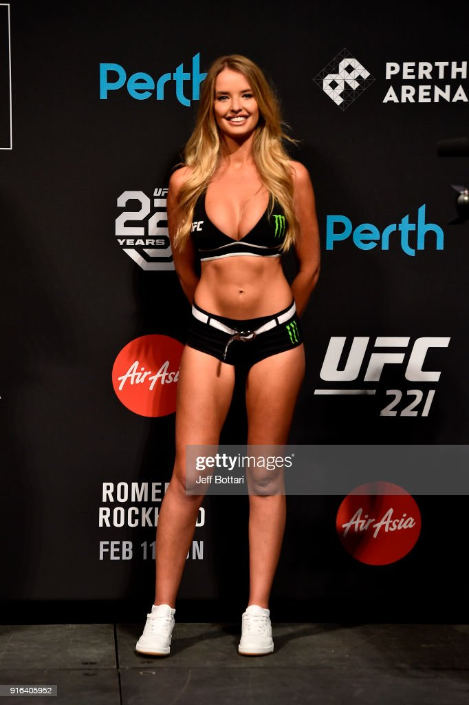Octagon Girl Kahili Blundell stands on stage during the UFC 221 weigh-in at Perth Arena on February 10, 2018 in Perth, Australia.