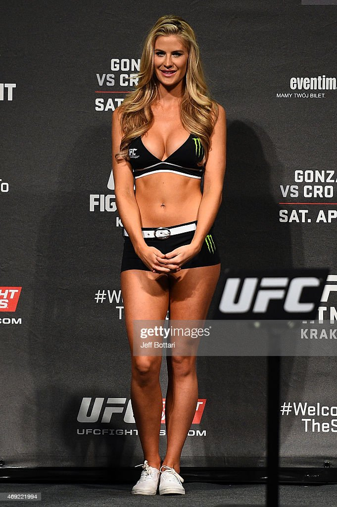 Octagon Girl Kristie Pearson interacts with the crowd during the UFC Fight Night weigh-in at the Tauron Arena on April 10, 2015 in Krakow, Poland.