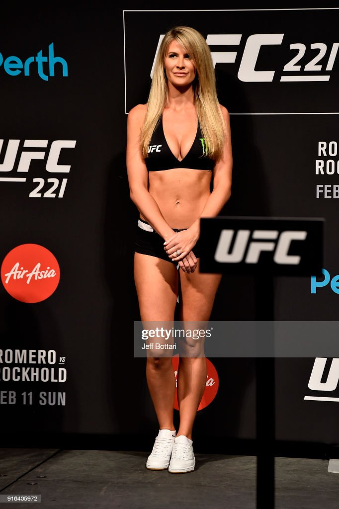 Octagon Girl Kristie Pearson stands on stage during the UFC 221 weigh-in at Perth Arena on February 10, 2018 in Perth, Australia.