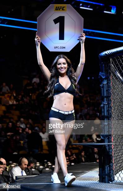 Octagon Girl Luciana Andrade introduces a round during the UFC 220 event at TD Garden on January 20 2018 in Boston Massachusetts