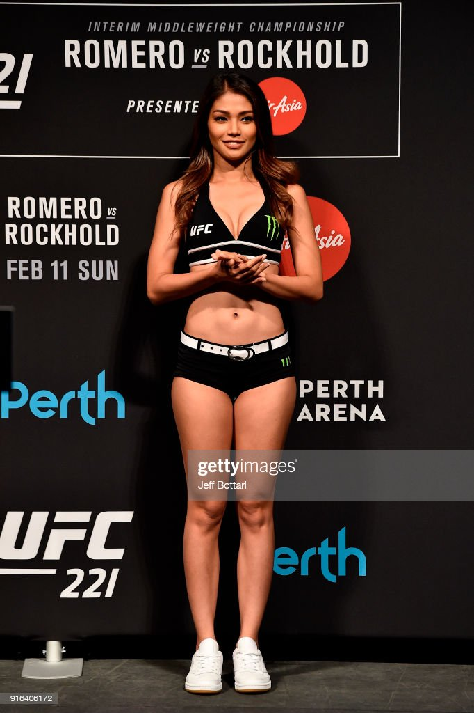 Octagon Girl Red Dela Cruz stands on stage during the UFC 221 weigh-in at Perth Arena on February 10, 2018 in Perth, Australia.