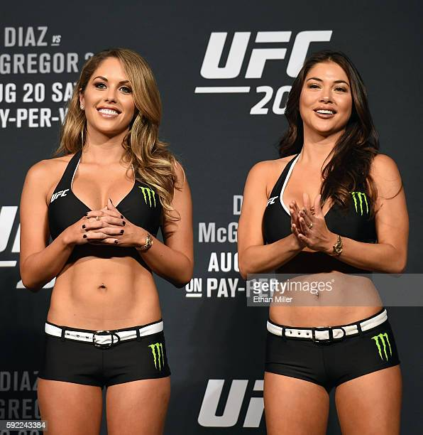 Octagon Girls and models Brittney Palmer and Arianny Celeste attend the weigh-ins for UFC 202 on August 19, 2016 in Las Vegas, Nevada.
