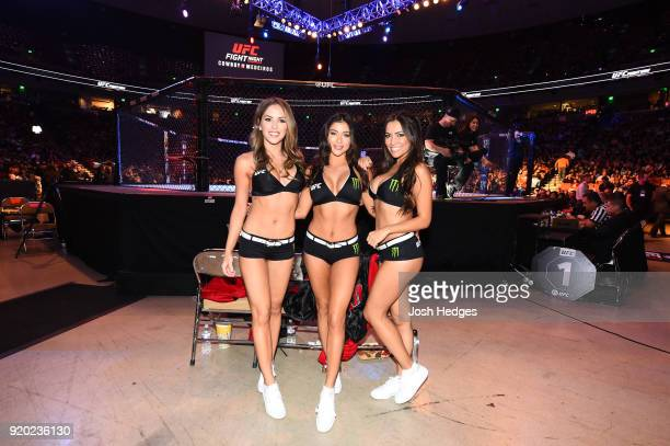 UFC Octagon Girls Brittney Palmer Arianna Celeste and Luciana Andrade pose Octagonside during the UFC Fight Night event at Frank Erwin Center on...