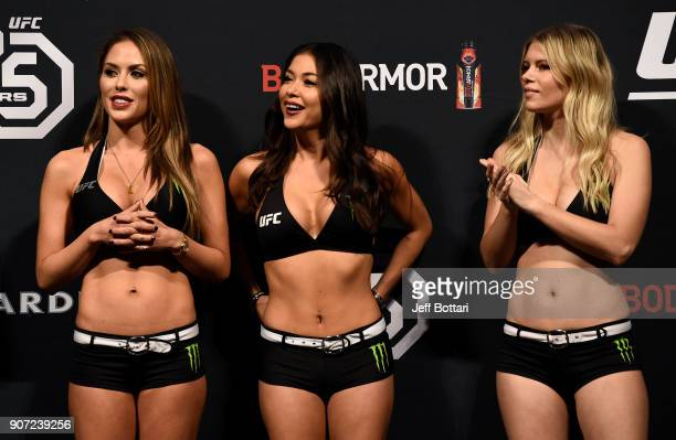 UFC Octagon Girls Brittney Palmer Arianny Celeste and Chrissy Blair stand on stage during the UFC 220 weighin at TD Garden on January 19 2018 in...