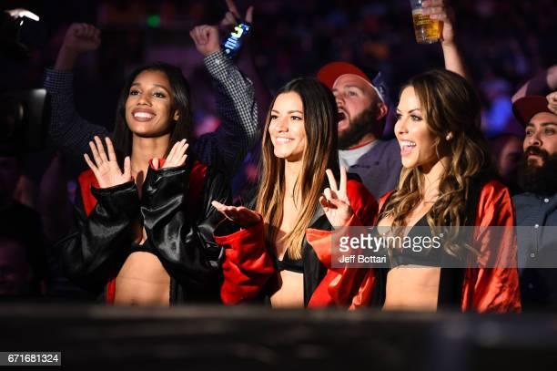 UFC Octagon Girls Brooklyn Wren Vanessa Hanson and Brittney Palmer look on during the UFC Fight Night event at Bridgestone Arena on April 22 2017 in...