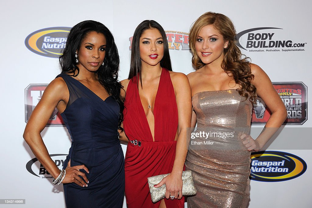 UFC Octagon Girls Chandella Powell, Arianny Celeste and Brittney Palmer arrive at the Fighters Only World Mixed Martial Arts Awards 2011 at the Palms Casino Resort November 30, 2011 in Las Vegas, Nevada.