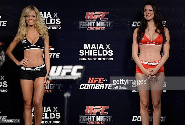 Octagon Girls Jhenny Andrade and Camila Rodrigues de Oliveira stands on stage during the UFC Fight Night: Maia v Shields weigh-in at the Ginasio Jose...