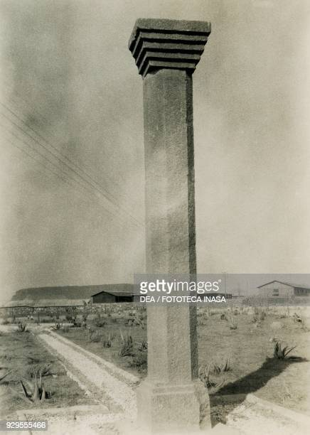 Octagonal column with square capital Axum Ethiopia photograph by Ugo Monneret de Villard 1937