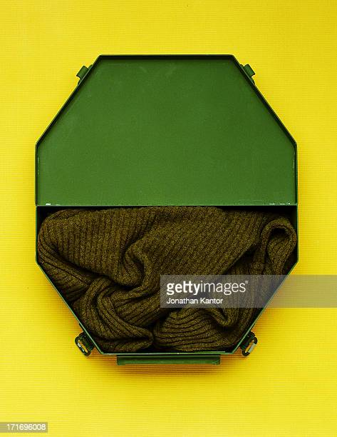 Octagonal Container with Sweater on Yellow