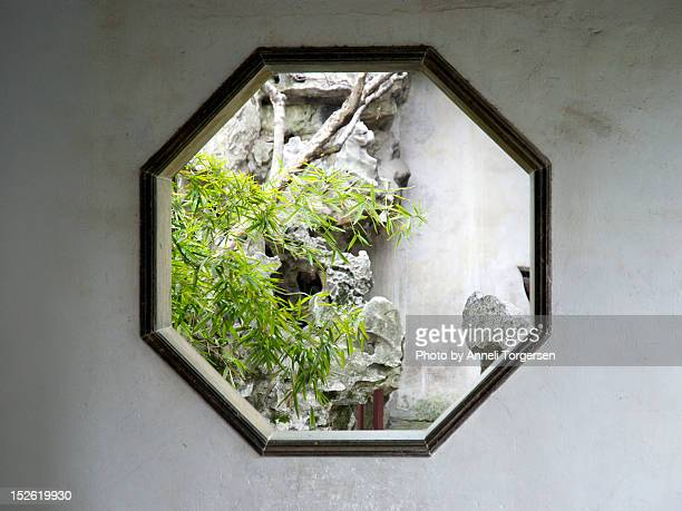 octagonal window - suzhou stock pictures, royalty-free photos & images